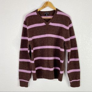 Club Monaco Brown and Purple Striped Wool Sweater